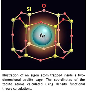 Trapping Argon Atoms in Two-Dimensional Arrays of Tiny Cages